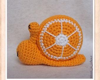 NEW! Plush Orange - Amigurumi snail - handmade