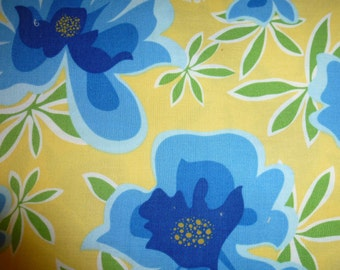 Two Yards (2) of Quality Quilt Cotton Fabric Beautiful Yellows, Blues and Greens
