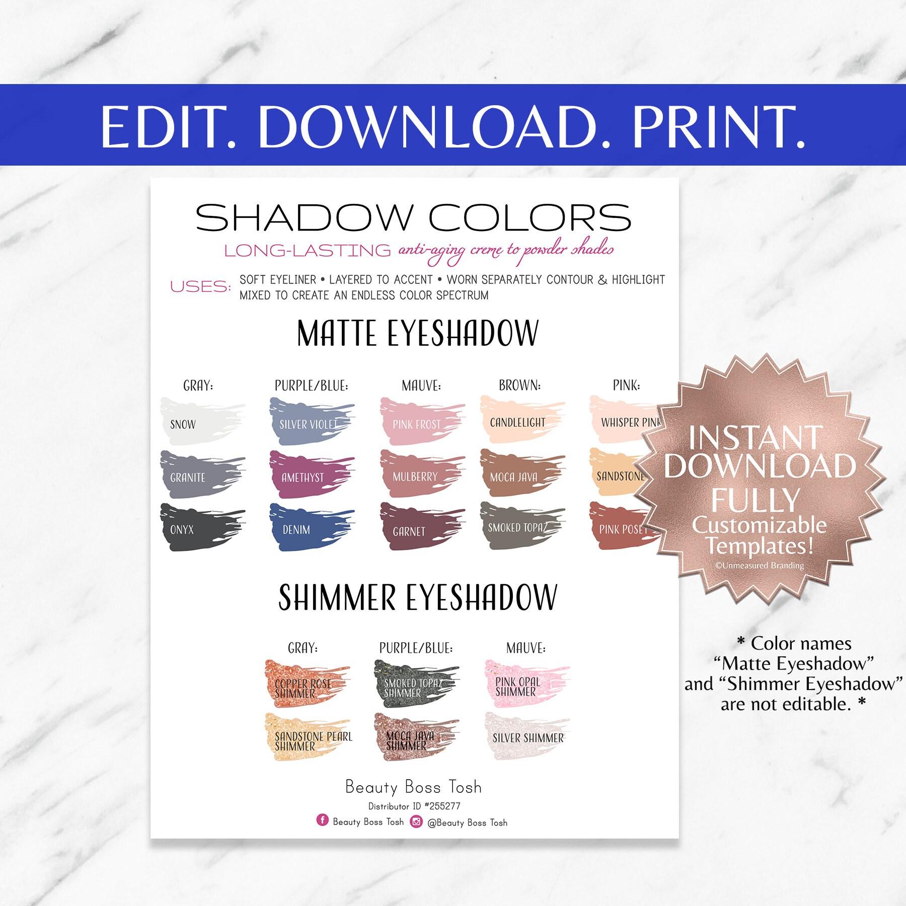 Shadowsense color chart smudges 8x10 printable template nvjuhfo Images
