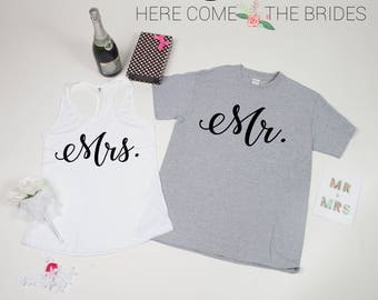 Mr Mrs shirts, Mr Mrs Matching shirts, Mr and Mrs shirts,Mr Mrs Honeymoon shirts,Hubby Wifey Shirts, Couple tshirts,Gift bride and Groom d7