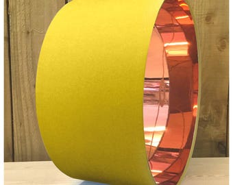 Yellow lamp shade etsy bright yellow mirror copper drum lampshade light shade 20cm 25cm 30cm 35cm 40cm 45cm 50cm 55cm 60cm 70cm aloadofball Gallery