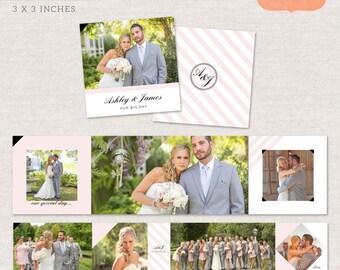 3x3 Mini Accordion Album Template - Wedding album template for photographers MA007 - INSTANT DOWNLOAD