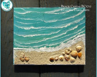 """Textured ocean waves painting, w/real shells and sand, 8"""" x 10"""", BC1712"""