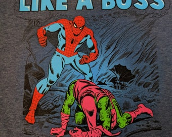 "Spiderman ""Spidey Saves the Day.."" Gray T-shirt Size XL"