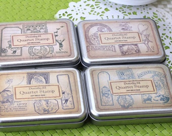 Dorothy Series Tin Box Rubber Stamp Set - Wooden Rubber Stamp Set - Diary Stamps - 4 boxes in