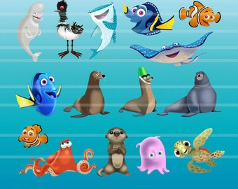 Finding Dory - Clipart -- 30 png files 6 and 12 inches 300 dpi - Dory Clipart -- Finding Nemo