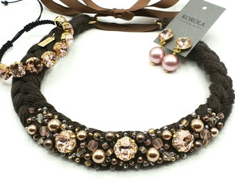 Handmade linen necklace made with crystals and pearls from Swarovski