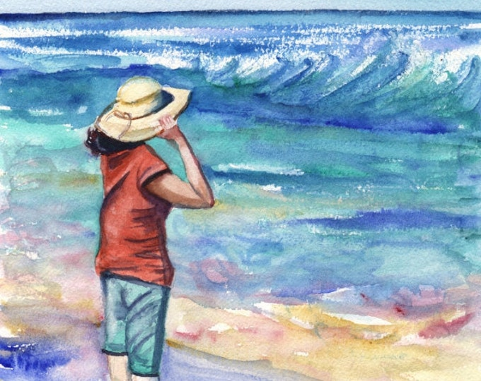 Kauai Beach Art -  5x7 Art Print - Kauai Seascape Art - Woman at the Beach - Hawaiian Art Prints - Lady With Hat Home Decor - Looking Out