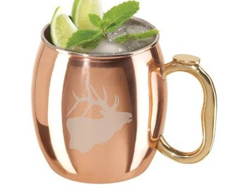 Moscow Mule - Etched Solid Cooper Mug - Cocktail Glass - Copper Barware - Mule Mug - Copper Cup