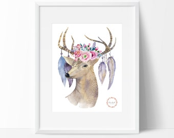 Tribal Deer Antlers Wall Print_0024WP