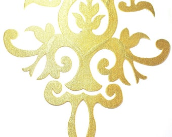 LARGE APPLIQUE EMBROIDERED GOLD TEXTURED VISCOSE THREAD ARABESQUE WALLS ALL CARRIERS AND TEXTILE INSIDE 28/39 CM