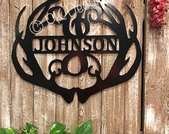 Antler Monogram Metal ACM - Antler Monogram Sign - Antler Sign - Door Decor - Deer Monogram - Deer Metal Art - Last Name Metal Sign