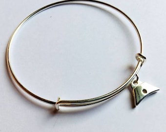 Shepherds whistle charm on Sterling silver Bangle