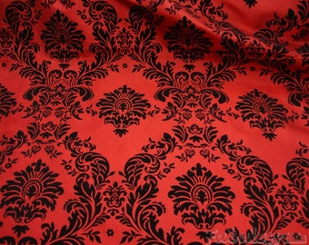 "Taffeta Red Black Flocking Damask fabric per yard 60"" wide"