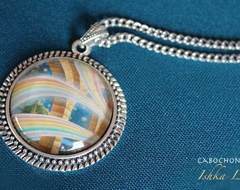 Triple Magic - Art Pendant Cabochon Necklace by Ishka Lha