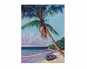 ORIGINAL OIL PAINTING 24x18 Palm Tree Coastal Beach Art