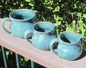 Largest pitcher pictured -  Cremer- Gravy - Juice - Handmade Pottery
