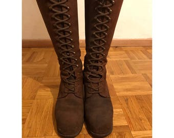 Lace up gogo boots. Mod Hippie style Italian leather
