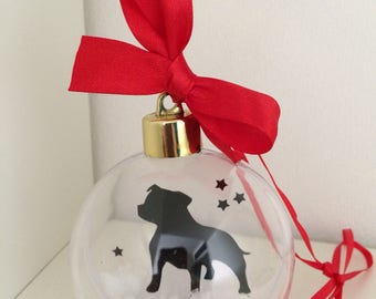 Staffordshire Bull Terrier Silhouette in the Snow Pet Bauble