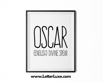 Oscar Name Meaning Art - Printable Baby Shower Gift - Nursery Printable Art - Digital Print - Nursery Decor - Typography Wall Decor