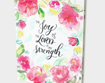 Bible Notebook Journal - Bible Study Planner, Sermon Notes Bible Journal, Journal for Church, The Joy of the Lord is My Strength scripture