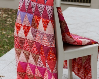 Red Quilt, Modern Triangles Quilt, Handmade Quilt, Double Size Bedspread, Triangles Quilt, Red Bedspread
