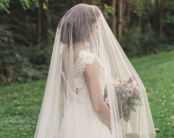 cathedral veil with blusher, bridal veil, ivory cathedral wedding veil with blusher, long english net veil, cathedral drop veil - VICTORIA