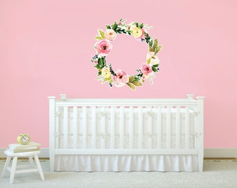 Floral Wreath Vinyl Wall Decal, Vinyl Wall Decal, Large Wall Decal, Oversized Flower decal, Nursery Decor, Girl Bedroom Decal