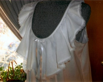 Custom Made Victorian Style Cotton Nightgown Ruffles and Lace