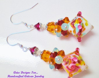 MAroon,Orange,White and Green Abstract LAmpwork Bicone Cluster Earrings