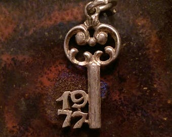 1977 vintage sterling silver skeleton key year to remember birthday anniversary charm necklace pendant or key chain charm