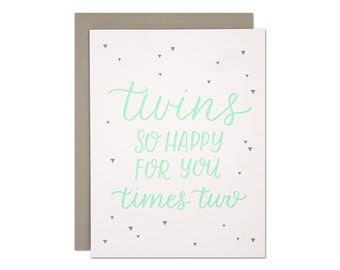 Twins Baby Card / Letterpress Greeting Card / Baby Shower / New Baby / Mint and Gray Calligraphy