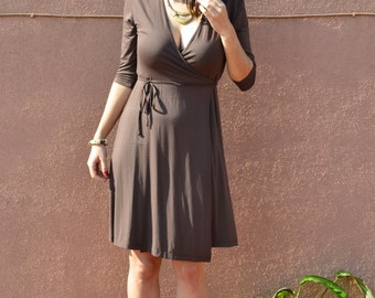 Office Wrap Dress / Fall Fashion Office Dresses / Office Outfit / Chocolate wrap dress / Classic Chocolate Office Wrap Dress /Feminine Dress