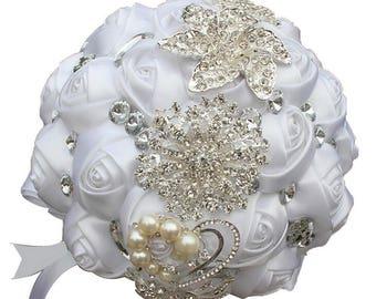 Elegant White Satin Rose Bouquet Crystal Rhinestone Bridal Bouquet Bridesmaid Bouquet Brooch Bouquet Wedding Flowers