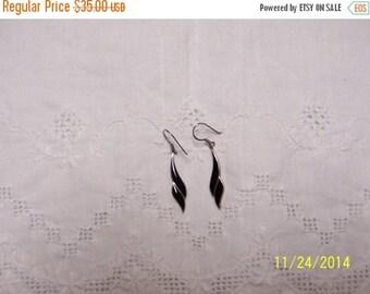 20% OFF VALENTINES SALE Vintage Black Enamel earrings. Sterling Silver.