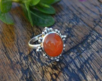 Carnelian Gemstone Ring - Orange Carnelian Ring - Designer Carnelian Ring -Sterling Silver Ring - Birthstone Ring, Solid Yellow Gold Ring