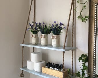 Wood And Rope Hanging Shelves   Bathroom Shelves  Small Bathroom Storage    Entry Way Shelves