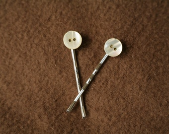 Mother of Pearl Button Bobby Pins