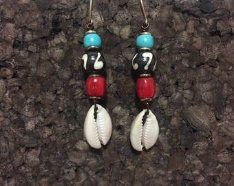 Kenyan Batik Bone and Cowrie Earrings