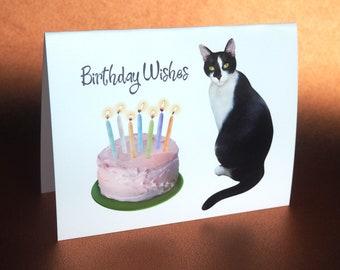 Cat with Cake Printable Birthday Card, Digital Cat Birthday Card