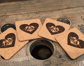 Couple that Dives together Stays Together Cork Coaster 4-pack