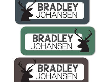 Daycare Labels for Boys, Deer Antler Stickers, Waterproof, Dishwasher Safe