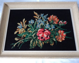 French Vintage floral tapestry in frame (P00078)