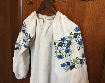 Vintage Ukrainian Vyshyvanka Homespun Linen Embroidered Dress Hand Made Blue Green Black Ukraine Embroidery