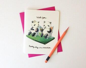 "Love / Anniversary / Friendship Card - ""Every Day Valentine's Day"" - cute love pandas"