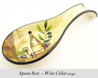 Ceramic Spoon Rest Tuscan Pattern Spoon Rests for Kitchen 2 designs