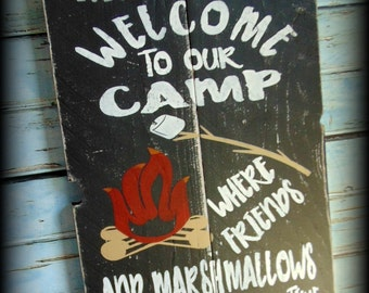 Rustic Camp Sign, Welcome To Our Camp, Campfire Sign, Friends Get Toasted, Family Name Sign, Custom Signs, Camping Decor, Housewarming Gift