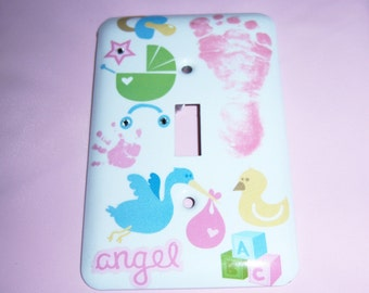 Baby Girl Themed Steel Light Switch Cover, Baby Gift, Nursery, Bridal Gift, Carriage, Stork, Foot and Hand Prints
