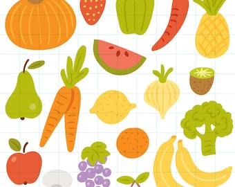 Fruits and vegetables clipart - Hand drawn instant download PNG graphics - 0023