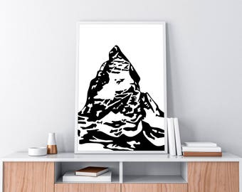 The Matterhorn digital poster size print black and white stylized mountain illustration